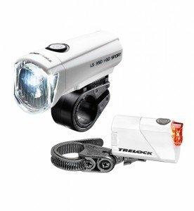 Trelock I-Go Sport LS350/LS710 LED Batterie Leuchten Set Weiss