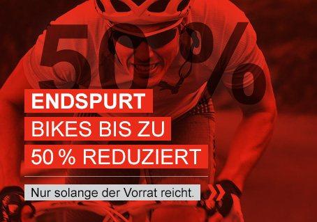 Bikes bis zu 50 Prozent reduziert